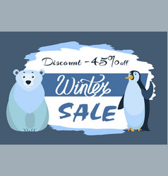 polar white bear and emperor penguin winter sale vector image