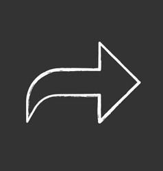 Right curved arrow chalk icon direction sign vector