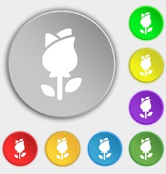 rose icon sign Symbol on eight flat buttons vector image