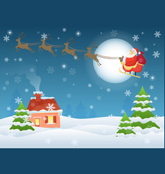 santa claus flying over vector image