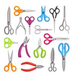 scissors large set universal hairdressers blue vector image