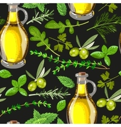Seamless olive oil and herbs vector image