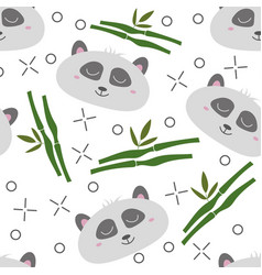 seamless pattern hand-drawn faces pandas vector image