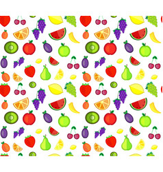 seamless pattern of colorful cartoon fruit vector image