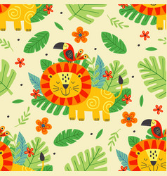 Seamless pattern with cute lion and parrot vector