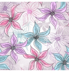 Seamless silvery floral pattern vector