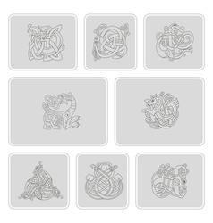 Set of monochrome icons vector