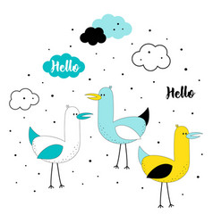 set with cute seagulls vector image