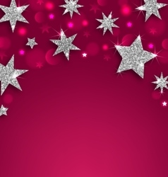 Starry Silver Banner for Happy Holidays vector