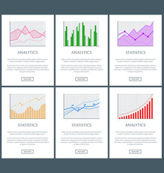 Statistics charts and analytics color diagrams set vector