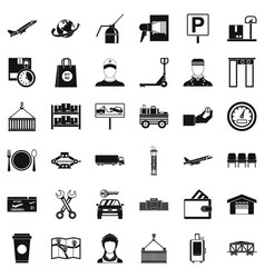 storage icons set simple style vector image