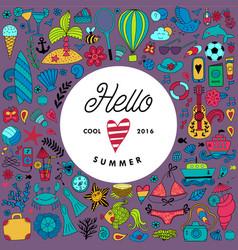 Summer doodles design travel vacation vector