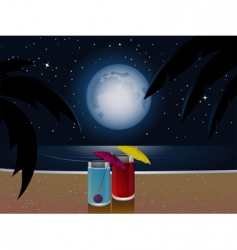 summer moonlight and cocktails vector image