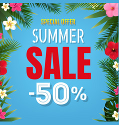 summer sale tropical border blue background vector image