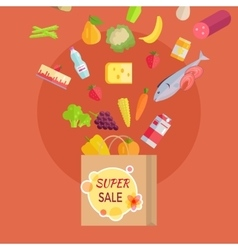 Super Sale at Grocery Conceptual Banner Paper Bag vector