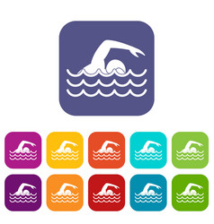 Swimmer icons set vector