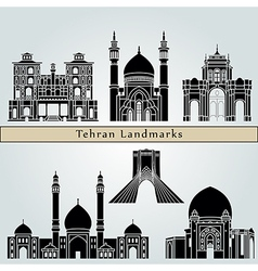 Tehran landmarks and monuments vector image