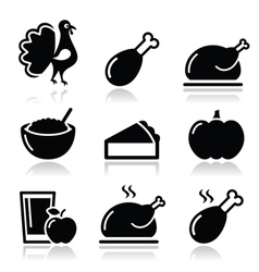 Thanksgiving Day food icons set - turkey pumpkin vector