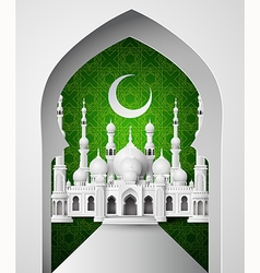 The mosque with half moon vector