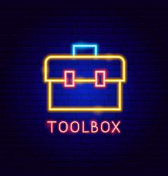 Toolbox neon label vector