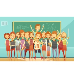 Traditional School Education Retro Cartoon Poster vector