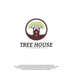 tree house logo template leaf house logo vector image