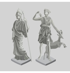 Two silhouette statues of ancient Greek men vector
