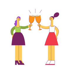 vecotr flat women saluting toasting at party vector image
