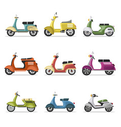 Vintage scooters set isolated on white vector