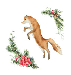 watercolor christmas card with fox and fir vector image