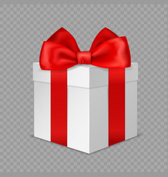 white gift box with red bow realistic vector image