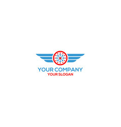 Wings heating and air logo conditioning design vec vector