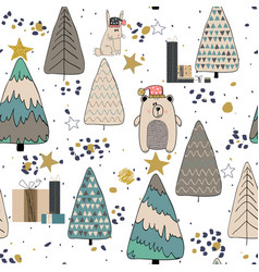 Winter forest seamless pattern background vector