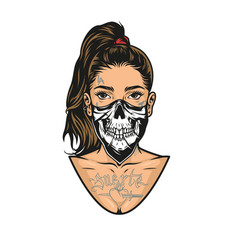 woman with tattoos scary mask vector image