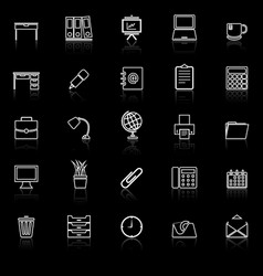 Workspace line icons with reflect on black vector