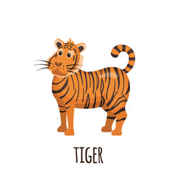 cute tiger in flat style vector image