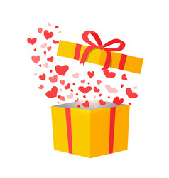Outflying hearts from present on white background vector