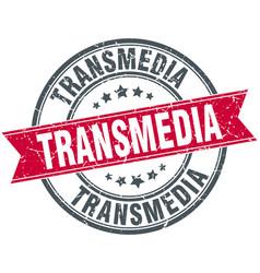 transmedia round grunge ribbon stamp vector image vector image