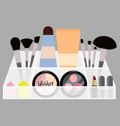 with flat cosmetics product vector image