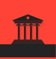 black greek colonnade on red background vector image
