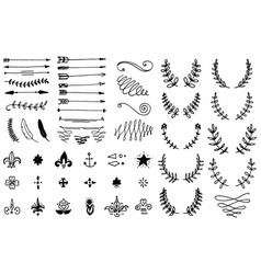 huge pack or set engraved hand drawn in old or vector image