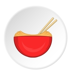 Noodles with chopsticks icon cartoon style vector image vector image