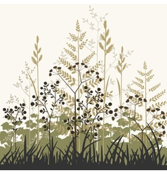 plants and grasses background vector image vector image