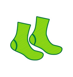 socks sign lemon scribble icon on white vector image vector image