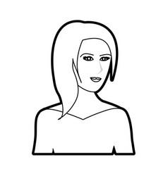 black silhouette cartoon half body woman with vector image