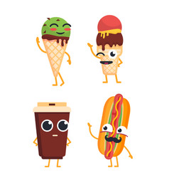 fast food characters - set of mascot vector image vector image