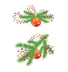Fir branch and red christmas balls vector