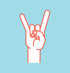 gesture rock sign stylized hand with index and vector image