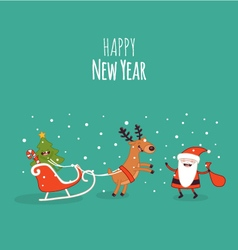 Happy NewYear card Christmas deer vector image vector image