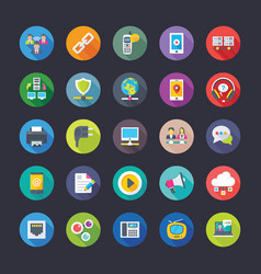 network and communication flat icons set vector image